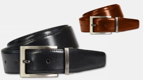 Noble reversible belt with pin buckle, black-cognac