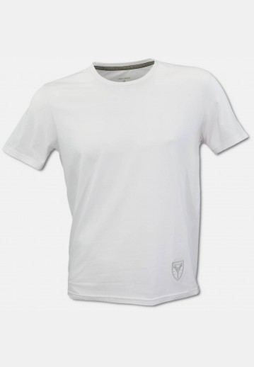 Crew-neck T-shirt with logo embroidery, white