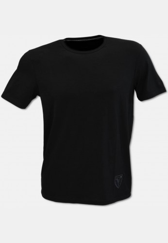 Crew-neck T-shirt with logo embroidery, black