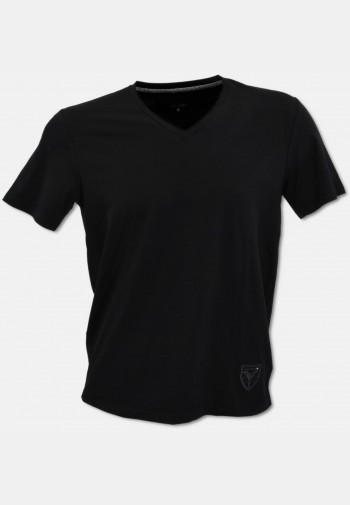 V-neck T-shirt with logo embroidery, black