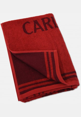 Jacquard shower towel with logo embroidery, red