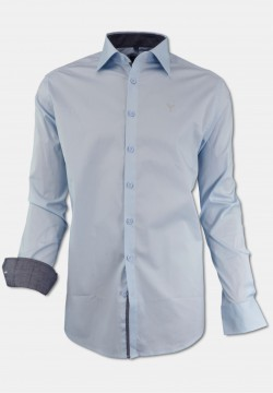 Stretch-Shirt Modern fit with Kent collar in light blue