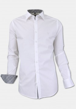 Stretch-Shirt with Kent collar in white