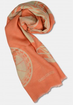 Schal aus Seide-Mix mit Logo-Print, Orange