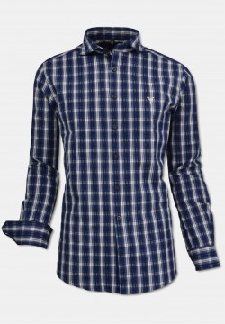 Checked men shirt with modern Kent-collar, navy-white