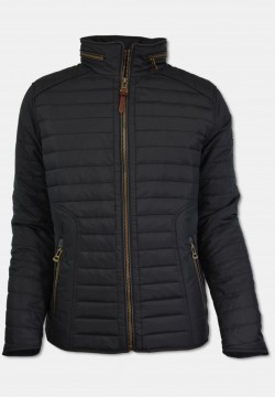 Sporty men quilted jacket with stand-up collar, black