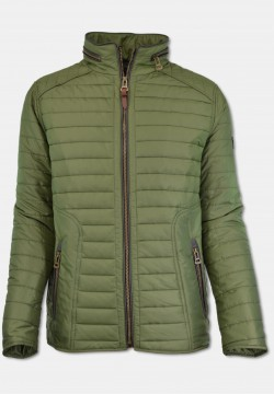 Sporty men quilted jacket with stand-up collar, green