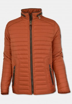 Sporty men quilted jacket with stand-up collar, orange