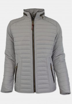 Sporty men quilted jacket with stand-up collar, light grey