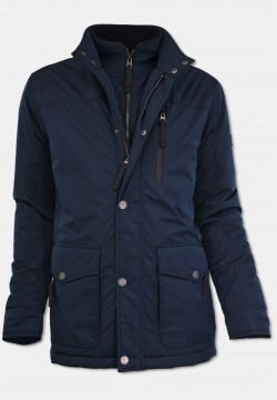 Warm lining winter jacket with stand-up collar, navy