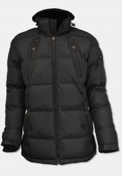 Warm lining winter jacket with hood, black