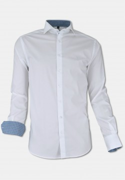 Business stretch-shirt with kent collar, white