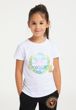 Girls logo T-shirt, white