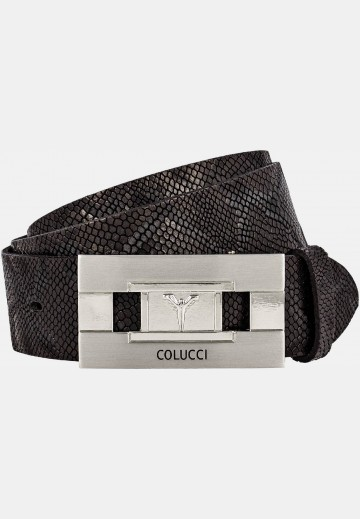 Leather belt with snake embossing