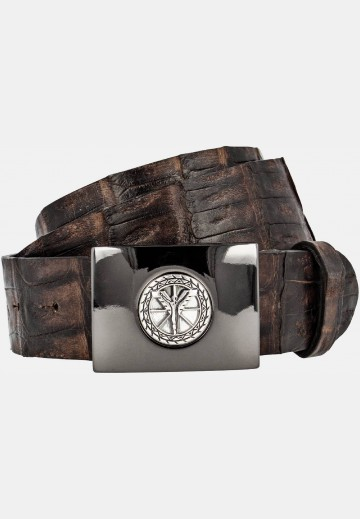Extravagant belt in caiman leather