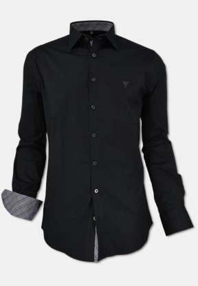 Stretch-Shirt Modern fit with kent collar in black