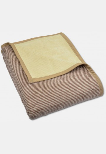 Soft blanket in cotton, brown striped