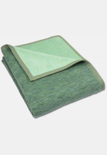 Soft blanket in cotton, green striped