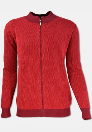 Cardigan with zip, red