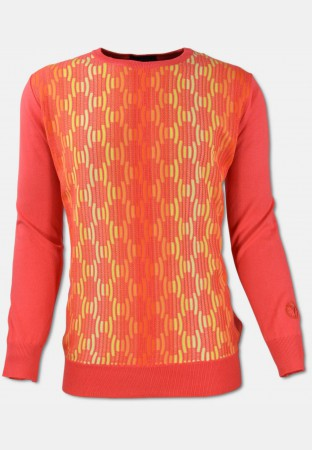 R-Neck Pullover, Orange gemustert