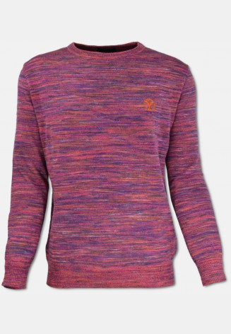 Crew neck sweater, red patterned