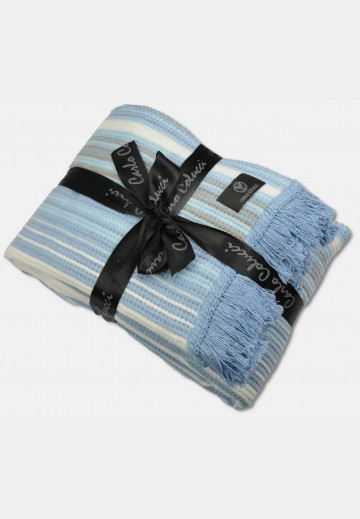 Blanket in waffle-piqué optics, blue striped