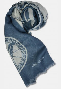Scarf with logo print in silk mix, navy