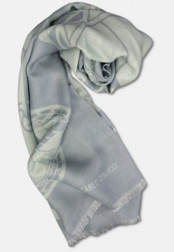 Scarf with logo print in silk mix, silver
