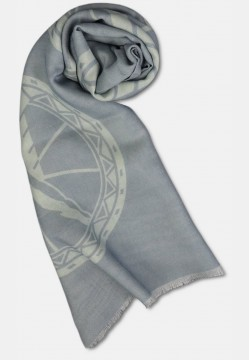 Scarf in silk mix with logo design, silver