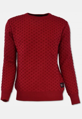 Rundhals Pullover mit All-Over Jaquard, Rot