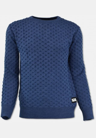 Rundhals Pullover mit All-Over Jaquard, Jeansblau