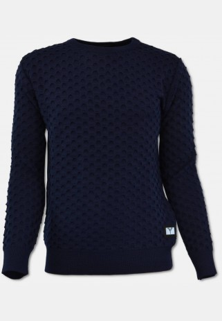 Rundhals Pullover mit All-Over Jaquard, Navy