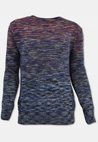 Crew-neck sweater with structure, navy