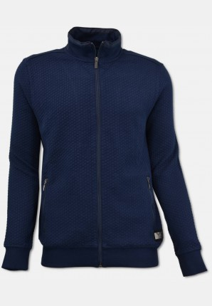 Sweat jacket with zipper, navy