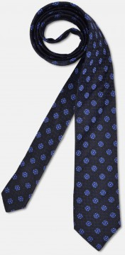 Elegant tie with fine flower texture, navy