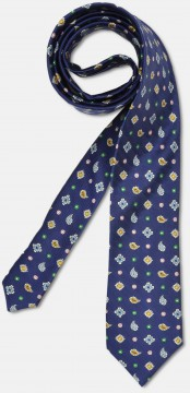 Elegant tie with pailey pattern and roughen texture, navy