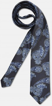 Elegant tie with big paisley-pattern, navy