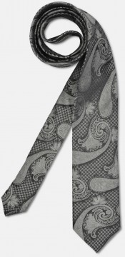 Elegant tie with big paisley-pattern, black-grey
