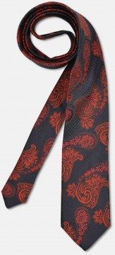 Elegant tie with big paisley-pattern, navy-red