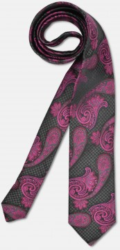 Elegant tie with big paisley-pattern, black-pink