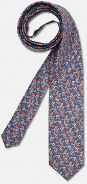 Elegant tie with colourful, flowery pattern, red-blue