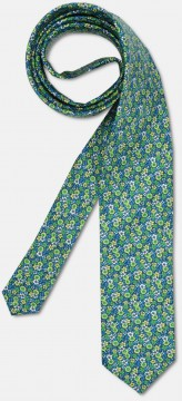 Elegant tie with colourful, flowery pattern, green-blue