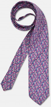 Elegant tie with colourful, flowery pattern, pink-violet
