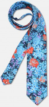 Elegant tie with big colourful, flowery pattern, blue