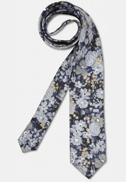 Elegant tie with big colourful, flowery pattern, grey