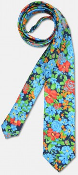 Elegant tie with big colourful, flowery pattern, green-blue