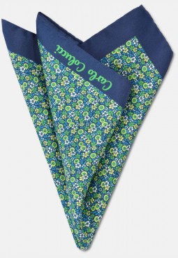 Elegant handkerchief with flower pattern, navy-green