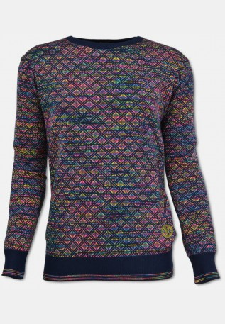 Crew neck sweater with plaid pattern, navy