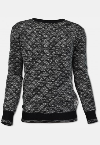Crew neck sweater with plaid pattern, black
