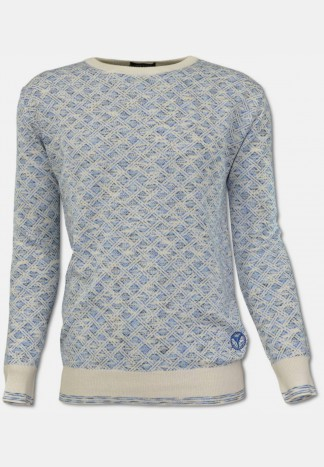 Crew neck sweater with plaid pattern, white